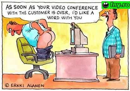 Angajatul model in video-conferinta imagini haioase